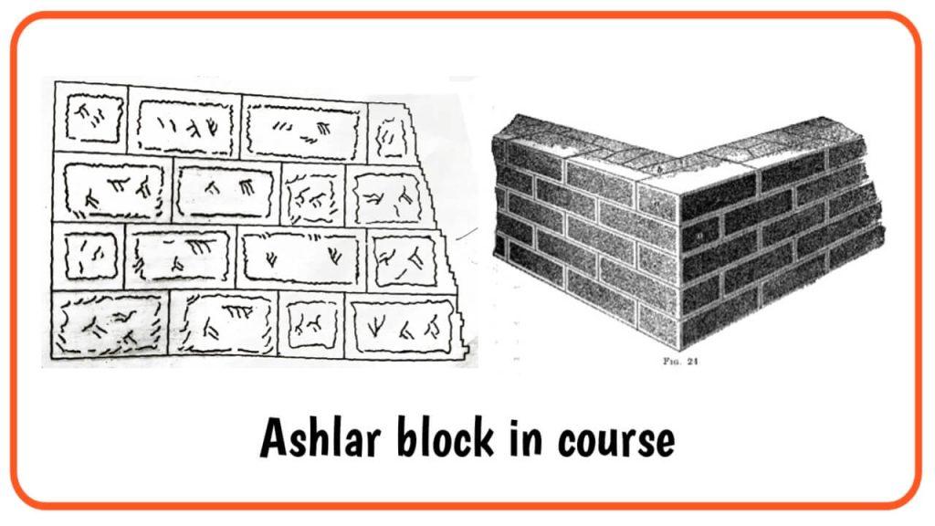 ashlar block in course masonry