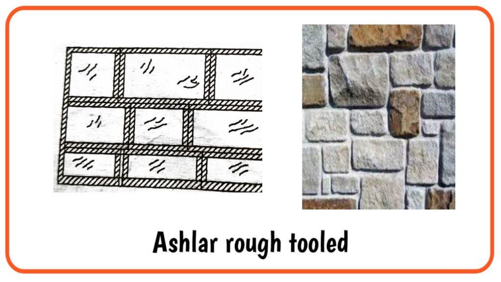 Ashlar rough tooled masonery