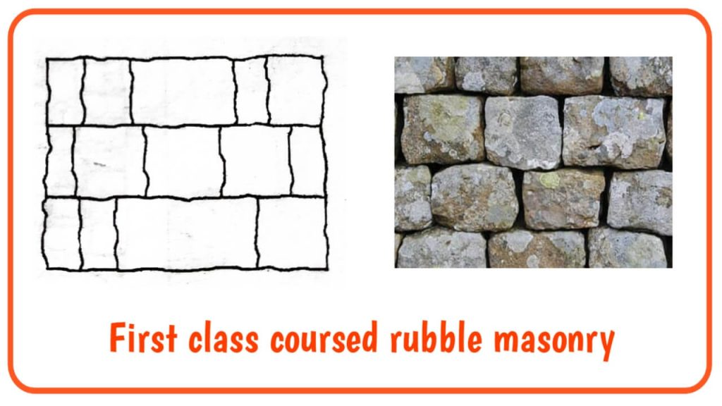 first class coursed rubble masonry